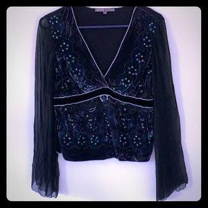 Black Velvet Sequin Blouse